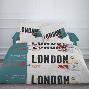 Housse de couette 220x240cm London Ticket