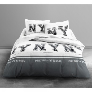 Housse de couette New York Grey 220x240 + 2 taies
