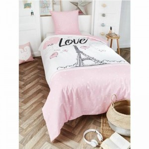 Housse de couette 140x200cm + 1 taie 100% coton STAR LOVE PARIS