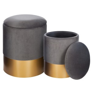 Lot de 2 poufs coffre Spirit gris