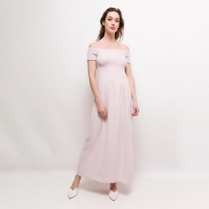 Robe longue blush à smocks