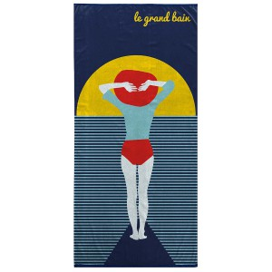 Serviette de plage 70x150cm Fish anthracite