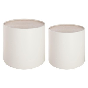 Lot de 2 tables coffres ronds Yuri blanc