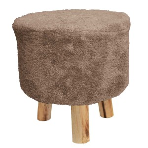 Tabouret fausse fourrure sherpa taupe