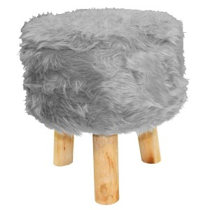 Tabouret fourrure grizzly gris