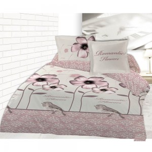 Housse de couette Romantic Flowers en flanelle 200x200cm + 2 taies