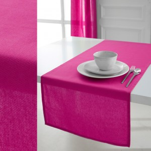 Chemin de table 100% coton jus de myrtille 50x150 cm