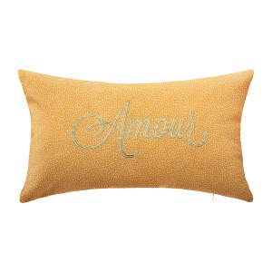 Coussin brodé Cosy jaune