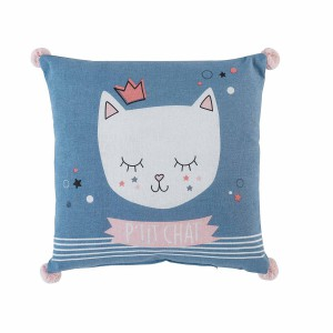 Coussin pompons 40x40 Mimi chat