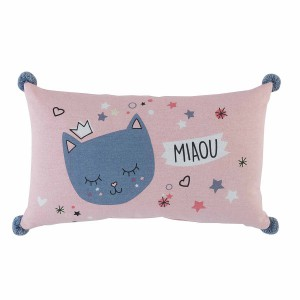 Coussin pompons 30x50 Mimi Chat
