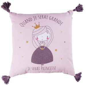 Coussin pompons 40x40 coton Alice