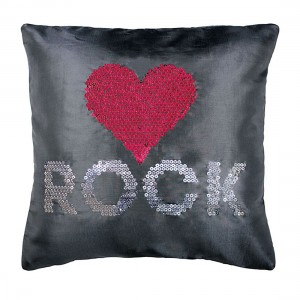 Coussin 40x40cm sequins Love rock