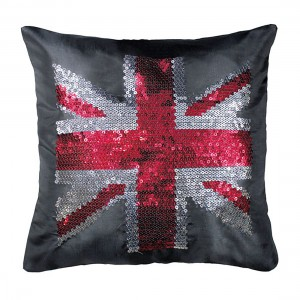 Coussin 40x40cm sequins BRITISH FLAG