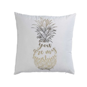 Coussin velours 45x45 Or Sunshine blanc