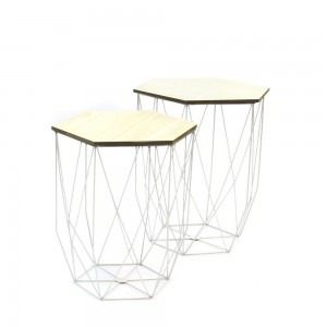 Lot de 2 tables gigogne filaire blanche