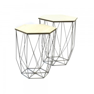 Lot de 2 tables gigogne filaire grise