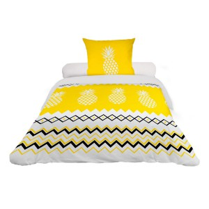 Housse de couette 140x200 Ananas jaune + 1 taie