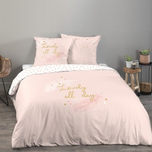 Housse de couette 240x260 Lovely all day rose + 2 taies 100% coton 57 fils
