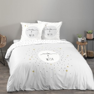 Housse de couette 240x260 Make a wish gris + 2 taies 100% coton 57 fils