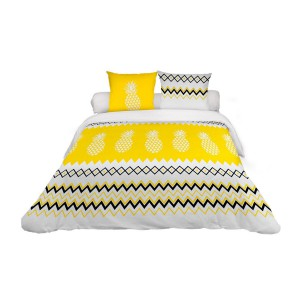 Housse de couette 220x240 Ananas jaune + 2 taies