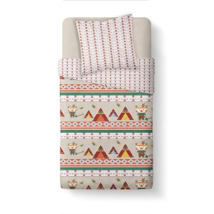 Housse de couette 140x200 Happy Little Tipi + 1 taie 100% coton 57 fils