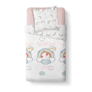 Housse de couette 140x200 Happy Make Me Smile + 1 taie 100% coton 57 fils