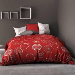Housse de couette 220x240 + 2 taies Hermine red 100% coton 57 fils