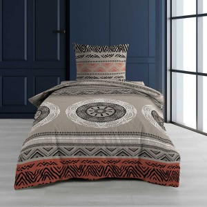 Housse de couette 140x200 Linake taupe + 1 taie coton 57 fils