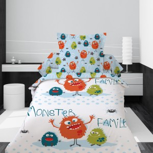 "Housse de couette 140x200 ""Monster Family"" + 1 taie"