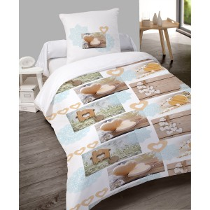 Housse de couette 140x200 Charmy + 1 taie 100% coton flanelle