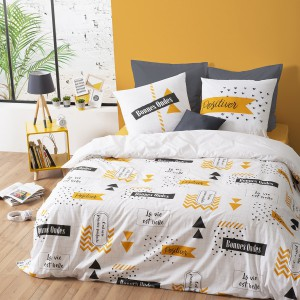 Housse de couette 220x240 Back to school + 2 taies 100% coton 57 fils