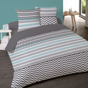 Housse de couette 220x240 Paolo Turquoise + 2 taies