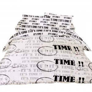 "Housse de couette ""It's time"" 220x240 + 2 taies"