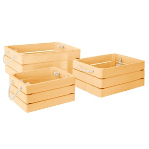 Lot de 3 cagettes en bois Dream jaune