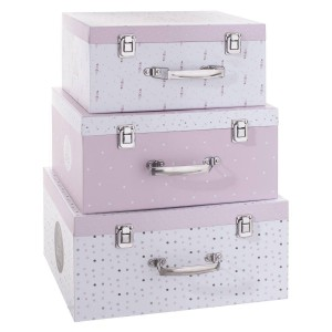 Lot de 3 malles de rangement My little box rose