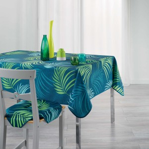 Nappe rectangulaire 150x240 cm antitache Blue Vegetal