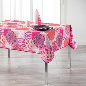 Nappe rectangulaire 150x240 cm antitache Flamenco rose