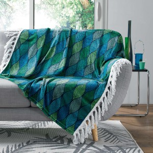 Plaid à franges 125x150 cm flanelle Winter Green