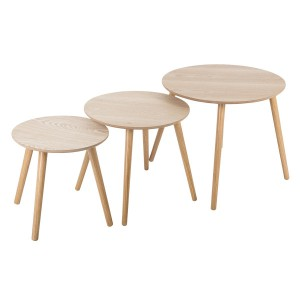 Lot de 3 tables à café rondes Mileo bois