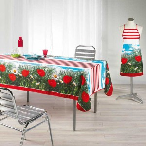 Tablier de cuisine Stripe Poppy rouge