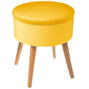 Tabouret coffre velours moutarde