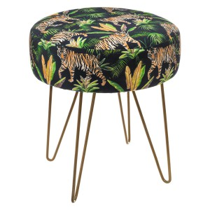 Tabouret velours Colonial tigre