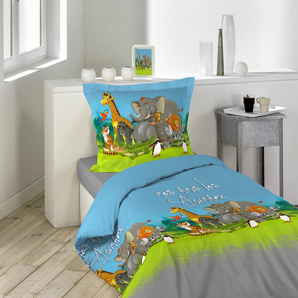 housse de couette zoo 140x200cm 100 coton bleu vert gris 140x200 ebay. Black Bedroom Furniture Sets. Home Design Ideas
