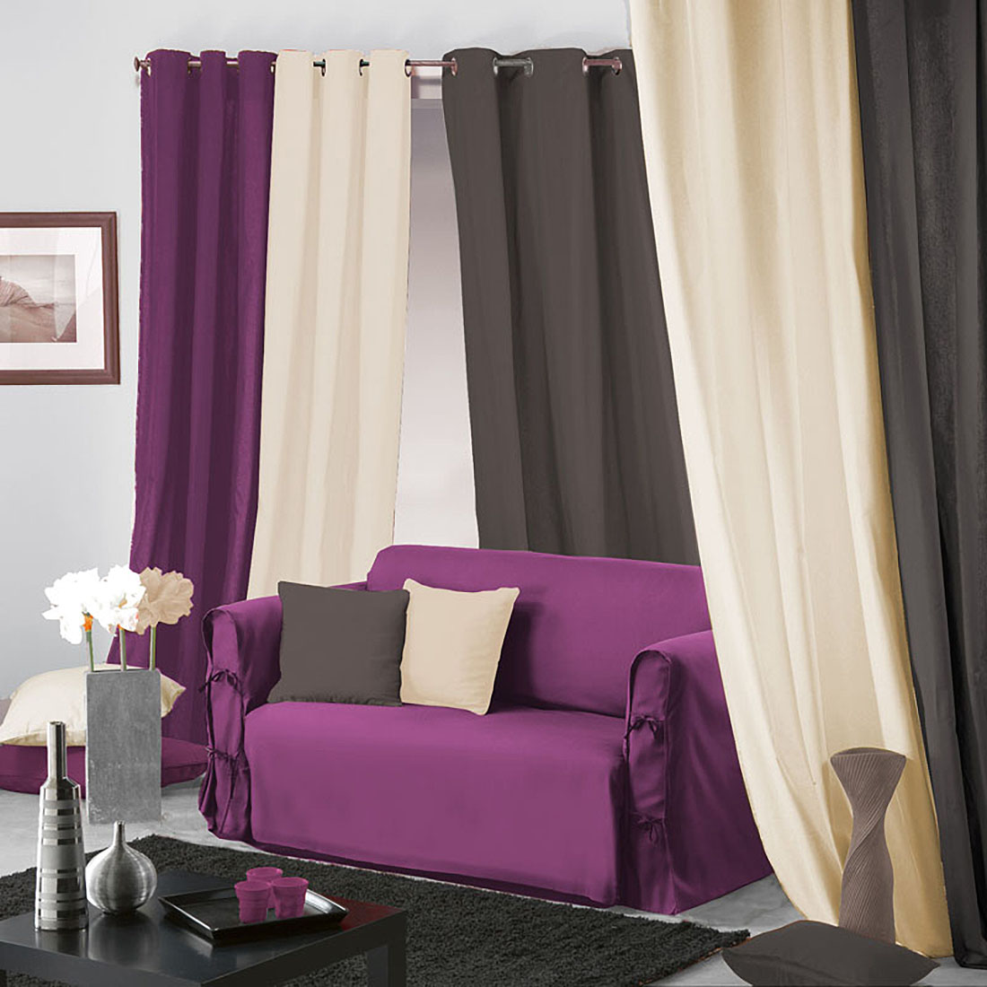 housse de canap nouettes panama prune violet autres ebay. Black Bedroom Furniture Sets. Home Design Ideas