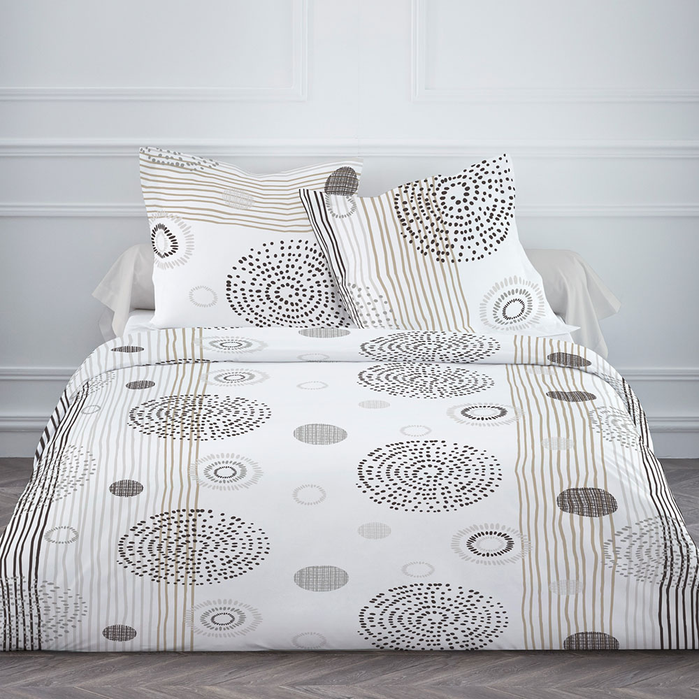 housse de couette mila 220x240cm 100 coton beige blanc 220x240 ebay. Black Bedroom Furniture Sets. Home Design Ideas