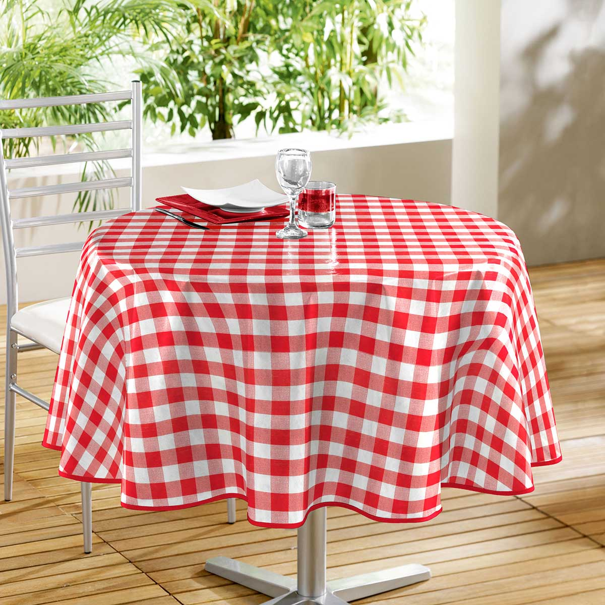 nappe de table ronde 160cm vichy rouge en toile cir e rouge blanc 160cm ebay. Black Bedroom Furniture Sets. Home Design Ideas