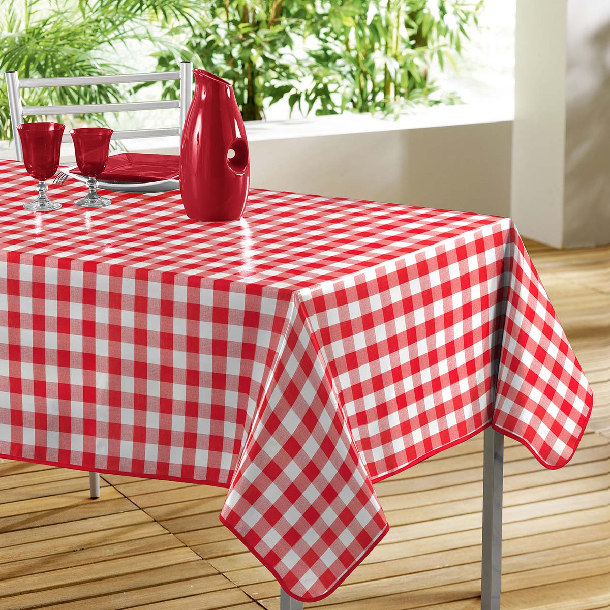 nappe de table 140x240cm vichy rouge en toile cir e rouge blanc 150 x 240 ebay. Black Bedroom Furniture Sets. Home Design Ideas