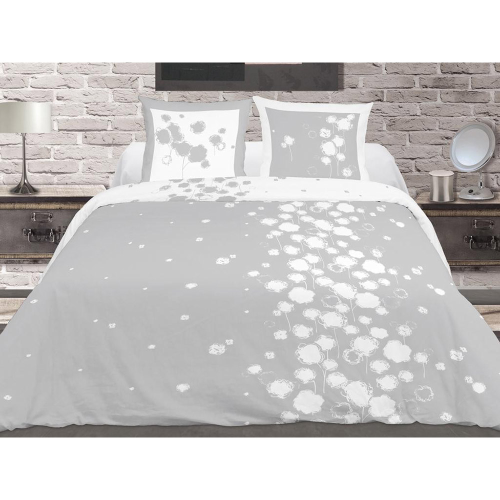 housse de couette 240x260 2 taies fleur de coton gris 100 coton gris blanc ebay. Black Bedroom Furniture Sets. Home Design Ideas
