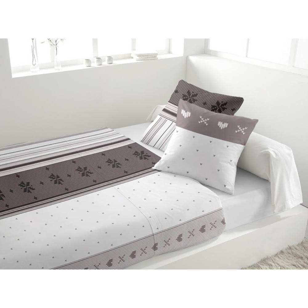 parure de lit 4 pi ces en flanelle neige blanc 2 personnes blanc 240 x 300 ebay. Black Bedroom Furniture Sets. Home Design Ideas