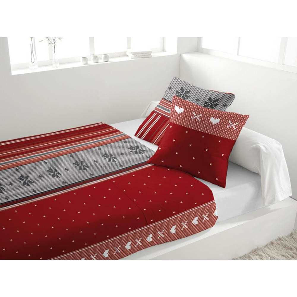 parure de lit 4 pi ces en flanelle neige rouge 2 personnes. Black Bedroom Furniture Sets. Home Design Ideas
